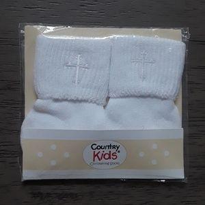 Baby boys christening socks